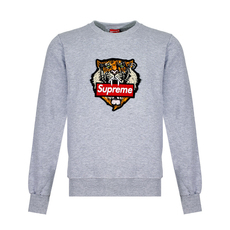 Supreme Spain Tiger Embroidery Sweatshirt Grey