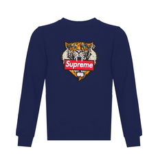 Supreme Spain Tiger Embroidery Sweatshirt Blue