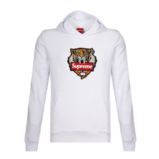 Supreme Spain Tiger Embroidery Hoodie White