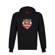 Supreme Spain Tiger Embroidery Hoodie Black