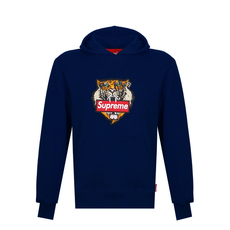 Supreme Spain Tiger Embroidery Hoodie Blue