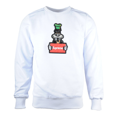 Supreme Spain Wanted Goofy Embroidery Sweatshirt White