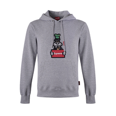 Supreme Spain Wanted Goofy Embroidery Hoodie Grey