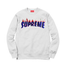 Supreme Spain Flaming Logo In Blue Terry Embroidery Sweatshirt White