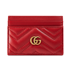 Gucci Gg Marmont Card Holder Hibiscus Red