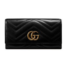 Gucci Gg Marmont Long Wallet Black