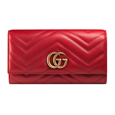 Gucci Gg Marmont Long Wallet Hibiscus Red