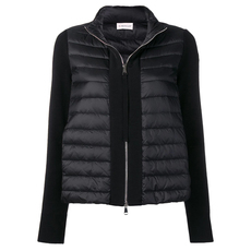 "Moncler Felt Logo ""Cardigan"" Down Jacket Black"