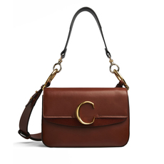 "Chloe Small ""C"" Double Shoulder Bag Sepia Brown"