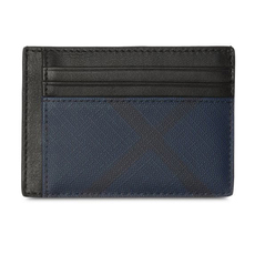 Burberry London Check Money Clip Card Holder Navy/Black