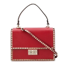 Valentino Garavani Rockstud Shoulder Bag Red