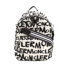 Moncler All Over Logo Backpack Black/White