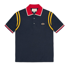 Gucci Cotton Polo With Bee Polo Tee Dark Blue