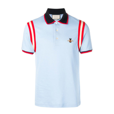 Gucci Cotton Polo With Bee Polo Tee Light Blue