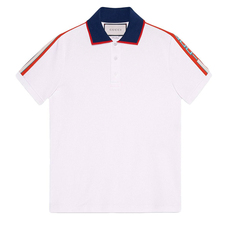 Gucci Cotton Polo With Stripe Polo Tee White