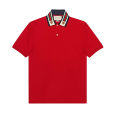 Gucci Web And Feline Head Polo Tee Red