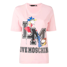 Love Moschino L M College Doll Print T-Shirt Pink