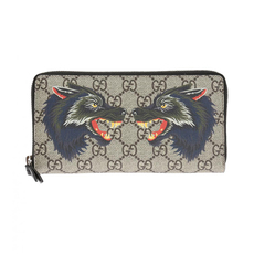 Gucci GG Supreme Wolf Head Zip Around Wallet Brown