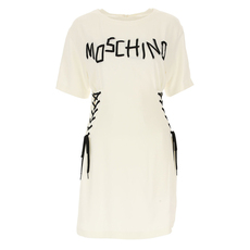 Moschino Couture Lace-Up Detail Dress White