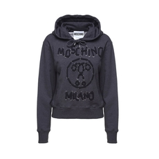 Moschino Couture Double Question Mark Logo Hoodie Dark Grey