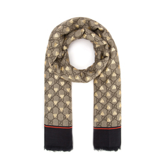 Gucci Gg Bees Motif Scarf Brown