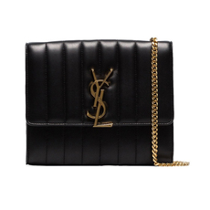 Saint Laurent Vicky Chain Wallet Black