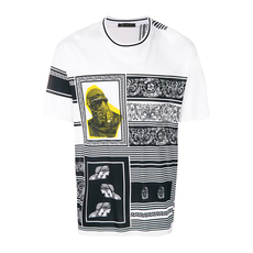 Versace Medusa Logo Color Block Baroque Print Micro-Ribbed Neck With Contrast Stripe  T-Shirt Blanco-Nero-Oro