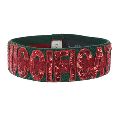 Gucci A Green-Red-Green Stripe With This Sequin Headband Red