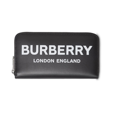 Burberry Logo Print Zip Around Wallet Black