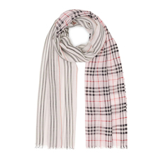 Burberry Icon Stripe And Vintage Check Scarf Alabaster Pink