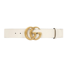 Gucci Leather With Double G Buckle Belt White