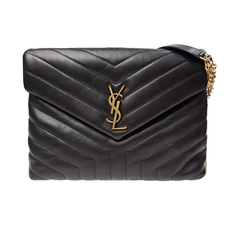 "Saint Laurent Loulou Medium In ""Y"" Matelassé Leather Shoulder Bag Black"