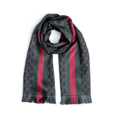 Gucci GG Jacquard With Web Scarf Grey