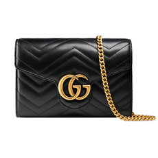 Gucci Gg Marmont Matelassé Mini Chain Wallet Black