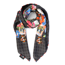 Gucci Courrier Print Scarf Black