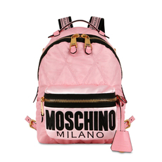 Moschino Medium Quilted Logo Backpack Pink