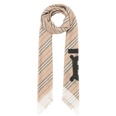 Burberry Monogram Icon Stripe Large Square Scarf Archive Beige