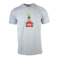 Supreme Spain Wanted Goofy Embroidery T-Shirt Grey
