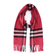 Burberry Checked Fringe Cashmere Scarf Fuchsia Pink