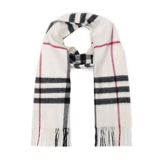 Burberry Checked Fringe Cashmere Scarf White