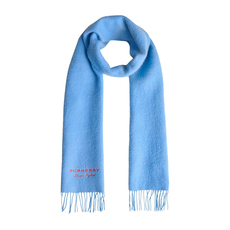 Burberry Embroidered Cashmere Fleece Scarf Bright Sky Blue
