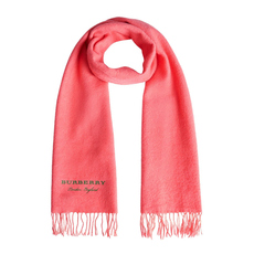 Burberry Embroidered Cashmere Fleece Scarf Coral