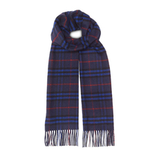 Burberry Classic Vintage Check cashmere Scarf Bright Navy