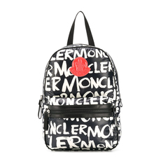 Moncler Kids Printed Shell Backpack Black/White