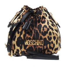 Moschino Leopard Print Bucket Bag Brown
