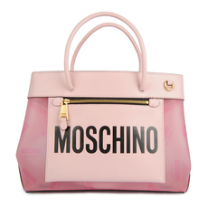 Moschino Small Shopper With all Over Logo Tote Bag Pink