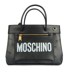 Moschino Small Shopper With all Over Logo Tote Bag Black