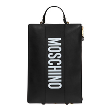 Moschino Logo Print Clutch Backpack Black
