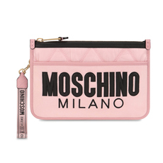 Moschino Quilted Nylon Clutch Bag Pink