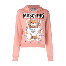 Moschino Safety Pin Teddy Hoodie Pink